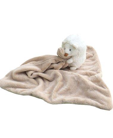 Plüss alvókendő állatfigurával drapp
